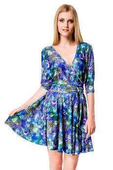 Синее летнее платье с принтом Перо павлина Mondigo со скидкой