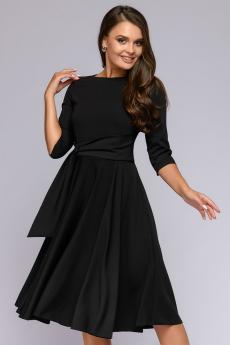 Платье черное миди с декоративной драпировкой 1001 DRESS