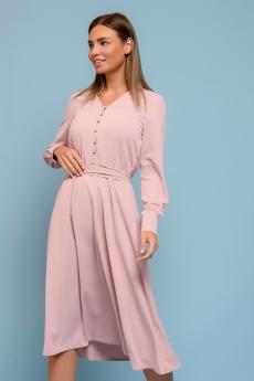 Платье цвета пыльной розы с длинными рукавами 1001 DRESS