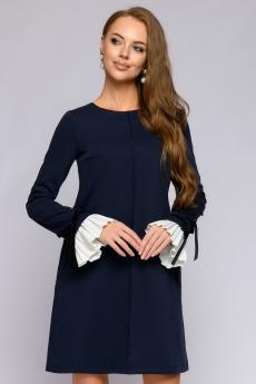 Темно-синее платье с контрастными манжетами 1001 DRESS
