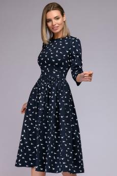 """Темно-синее платье с принтом """"кошки"""" 1001 DRESS"""