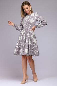 Серое платье с цветочным принтом и с пышными рукавами 1001 DRESS
