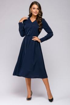 Темно-синее платье с длинными рукавами 1001 DRESS