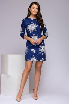 Синее платье с цветочным принтом 1001 DRESS