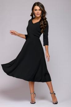 Черное платье миди с расклешенной юбкой 1001 DRESS