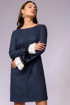 Темно-синее платье из фактурной ткани с контрастными манжетами 1001 DRESS