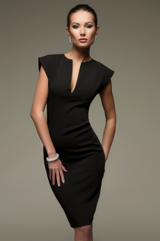 Черное платье-футляр с глубоким вырезом 1001 DRESS