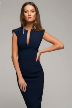 Синее платье-футляр с глубоким вырезом 1001 DRESS