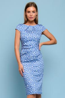 Голубое платье-футляр с цветочным принтом 1001 DRESS