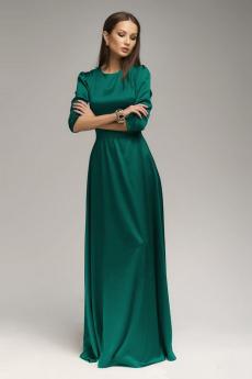 Изумрудное атласное платье с рукавом 3/4 1001 DRESS