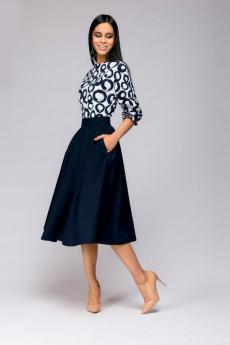 Синее платье с принтованным верхом 1001 DRESS
