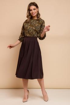 Темно-коричневое платье с принтованным верхом 1001 DRESS