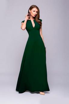 Зеленое платье макси с глубоким декольте 1001 DRESS