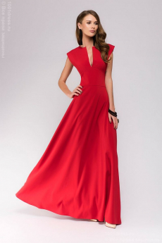Красное платье макси с глубоким декольте 1001 DRESS