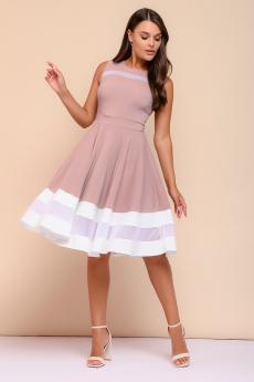 Платье цвета пепельной розы с белой отделкой 1001 DRESS