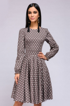Бежевое платье в горошек с пышными рукавами 1001 DRESS