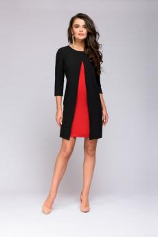 Черное платье с красной вставкой 1001 DRESS