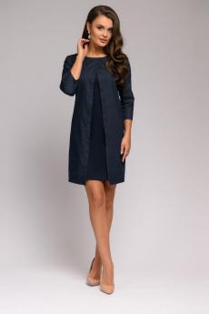 Темно-синее платье длины мини со вставкой 1001 DRESS