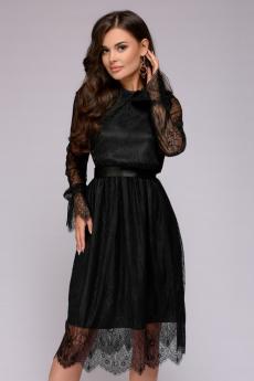 Платье черное кружевное длины миди 1001 DRESS
