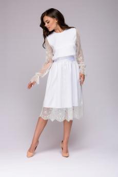 Платье белое кружевное длины миди 1001 DRESS