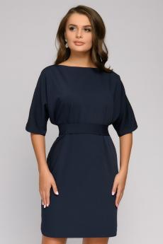 """Платье темно-синее с поясом и рукавом """"летучая мышь"""" 1001 DRESS"""