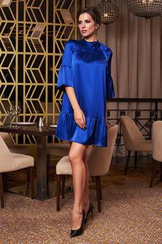 Синее атласное платье Angela Ricci