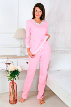 Розовая пижама с кружевом Милана со скидкой