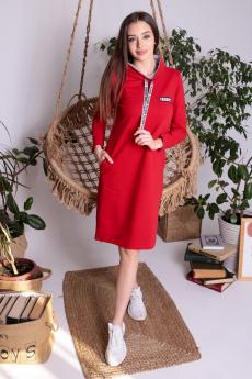 Красное теплое платье ElenaTex